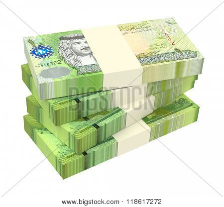 Bahraini dinar bills isolated on white background. Computer generated 3D photo rendering.