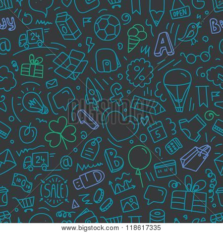Different web interface doodle silhouettes seamless pattern. Cartoon style vector background