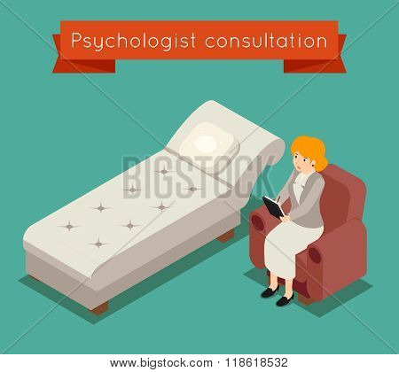 Psychologist in office. Vector medical concept 3D isometric style
