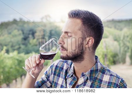 Handsome Bearded Man Sniffs Glass Of Wine Before Drinking