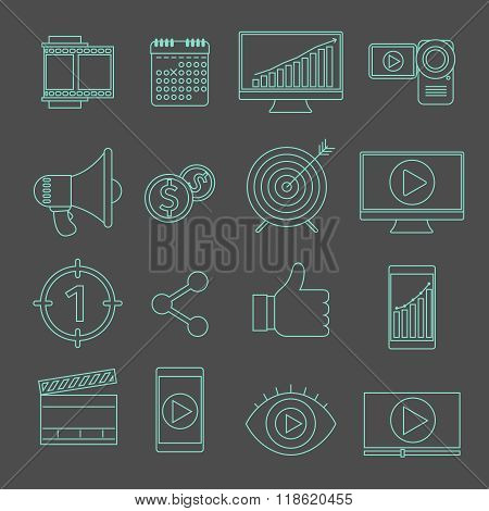Digital marketing and video advertising thin line vector icons