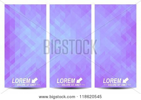 Set of vector flyers. Background with purple triangles. Flyer, web, banner, card, vip, certificate,