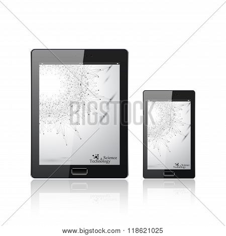 Modern digital tablet PC with mobile smartphone isolated  on the white. Molecule and communication b