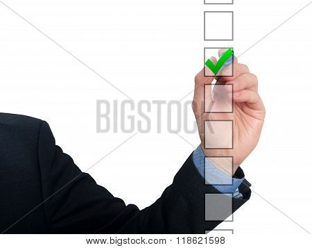 Business Man Draw With Marker On Empty Copy Space Ticking Check Box Isolated On White