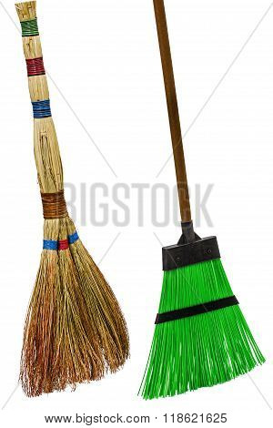 Besom And Broom, Isolated On White Background