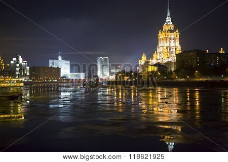 RUSSIA, MOSCOW, DECEMBER, 30, 2014 - Hotel Ukraine (Radisson Royal) in the evening illuminating,  five-star hotel located in one of Stalin skyscrapers, building height - 206 meters with 73-meter spire.