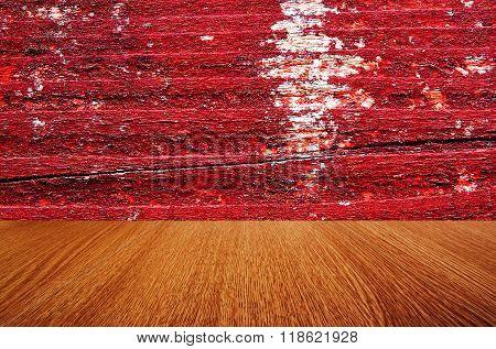 Red & orange, vintage, wooden background or backdrop texture, for product design.