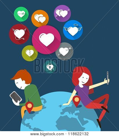Online Dating. People in a loving virtual. couple in the world of mobile phones. Icons hearts set. F