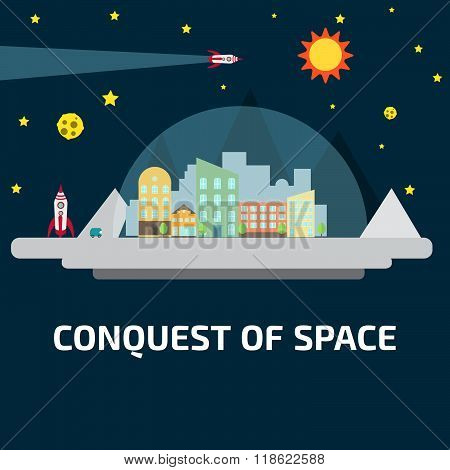 Conquest of space of the Moon. Future human colony. Space elements.