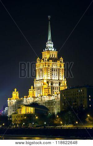 Hotel Ukraine (Radisson Royal) in the evening illuminating