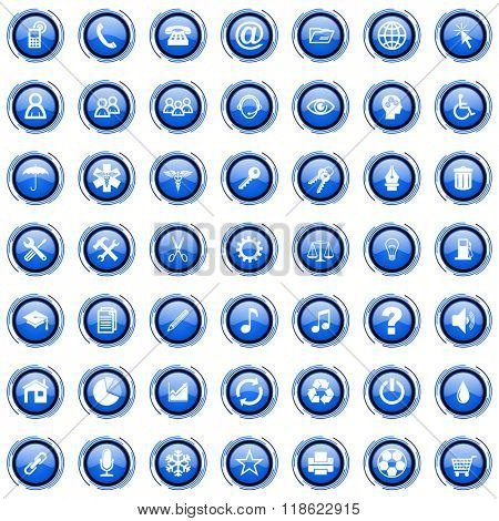blue modern business cicrle glossy web icons set