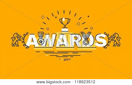 Thin line flat design banner for awards web page
