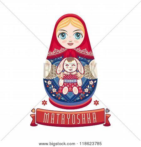 Matryoshka. Babushka doll. Vector illustration on white background