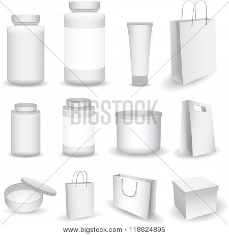 Vector Blank Big Set of Plastic Packaging Bottles with Cap for Cosmetics, Vitamins, Pills or Capsules, bag box