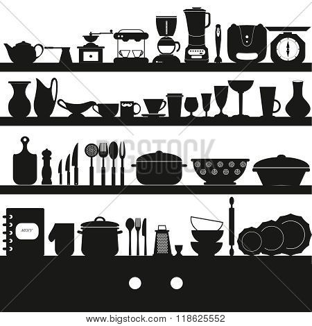 Cooking Tools And Dishes Icons Set .kitchen Collection - Vector Silhouette