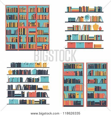 Set of bookshelves and bookcase with books. Vector illustration.