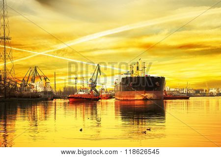 Tanker Ship With Tugs