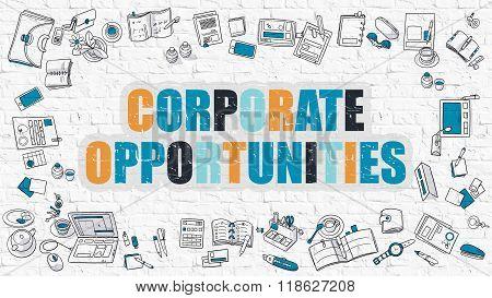 Corporate Opportunities in Multicolor. Doodle Design.