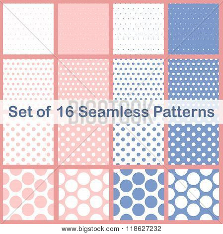 Set of sixteen different types polka dots seamless patterns. Spring colors. Vector EPS10.