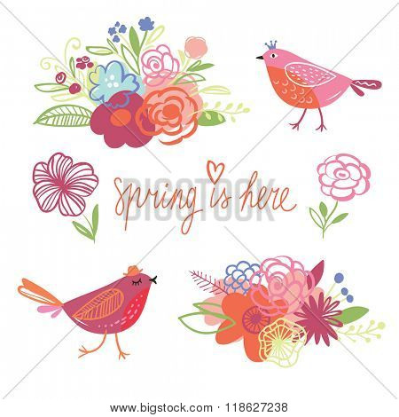 Spring collection, vector elements