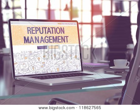 Reputation Management Concept on Laptop Screen.
