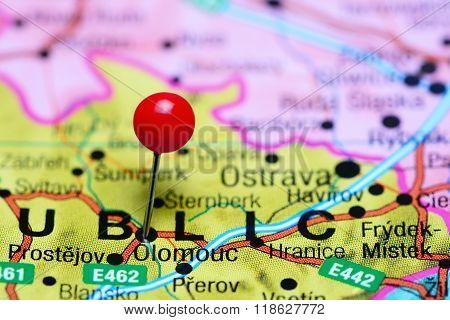 Olomouc pinned on a map of Czech Republic
