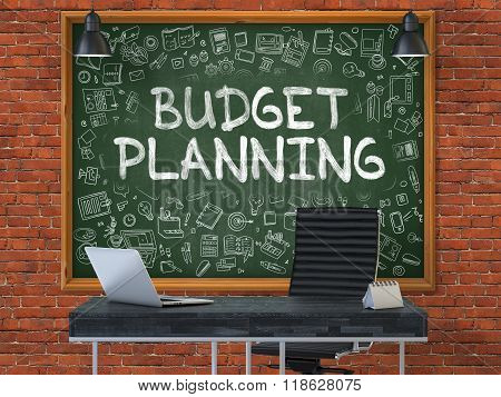 Hand Drawn Budget Planning on Office Chalkboard.