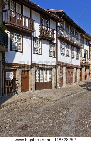 Guimaraes, Portugal. Medieval street of the Historical Center of Guimaraes. UNESCO World Heritage Site.