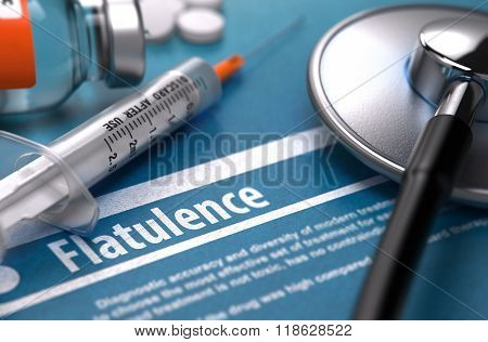 Flatulence - Printed Diagnosis. Medical Concept.
