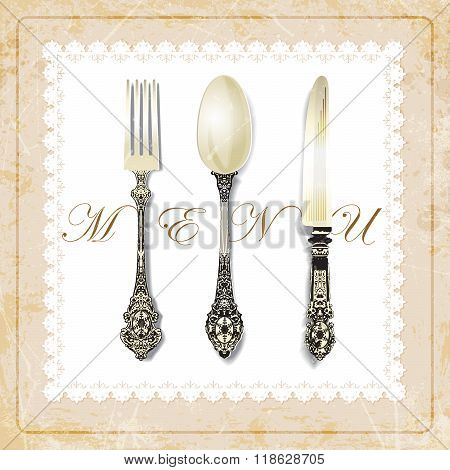 cutlery on grunge background. vintage spoon fork knife napkin