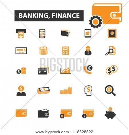 banking icons, banking logo, finance icons vector, finance flat illustration concept, finance infographics elements isolated on white background, finance  logo, finance symbols set, financial planning