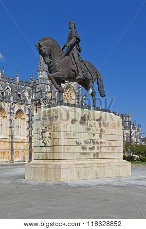 Batalha, Portugal - March, 2015: Batalha Monastery. Nuno Alvares Pereira statue. One of Portugal most important national heroes. Medieval noble and knight. Portugal. UNESCO World Heritage Site.