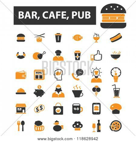 cafe icons, cafe logo, bar icons vector, bar flat illustration concept, bar infographics elements isolated on white background, bar logo, bar symbols set, pub