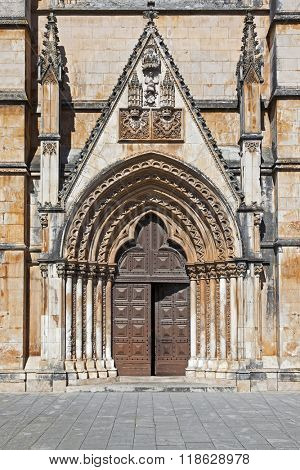 The South Portal of the Abey of Batalha. Masterpiece of the Gothic and Manueline. Portugal. UNESCO World Heritage Site.