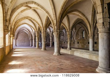 Alcobaca, Portugal - July, 2015: Monks Dormitory of the Alcobaca Monastery. Masterpiece of the Gothic architecture. Cistercian Religious Order. Unesco World Heritage.