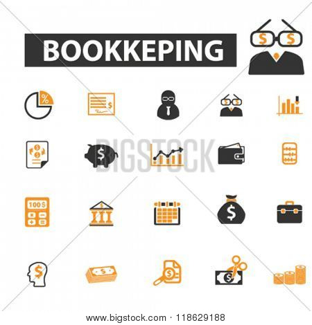 bookkeping icons, bookkeping logo, accounting icons vector, accounting flat illustration concept, accounting infographics elements isolated on white background, accounting  logo, accounting symbols