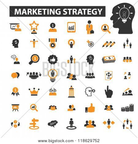 market icons, market logo, marketing strategy icons vector, marketing strategy flat illustration concept, marketing strategy logo, marketing strategy symbols set