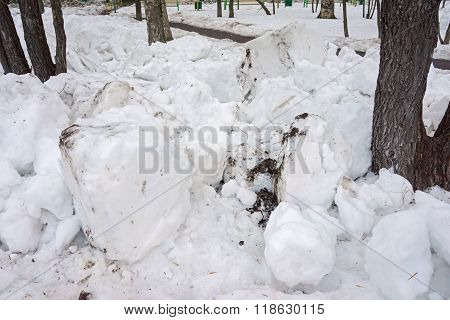 Lumps Of Snow And Tree Trunks In A Winter Street