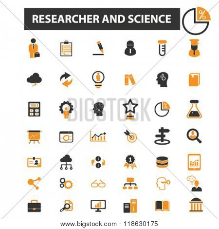 researcher icons, researcher logo, science icons vector, science flat illustration concept, science infographics elements isolated on white background, science logo, science symbols set, test, lab