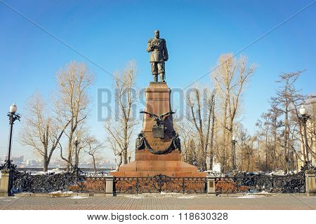 Irkutsk, Russia - 16 February, 2016: Monument To Alexander Iii On A Winter Day. The Monument By Russ