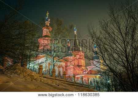 Night View Of The Orthodox Holy Cross (kresto-vozdvigenskiy) Church. Irkutsk, Siberia, Russia