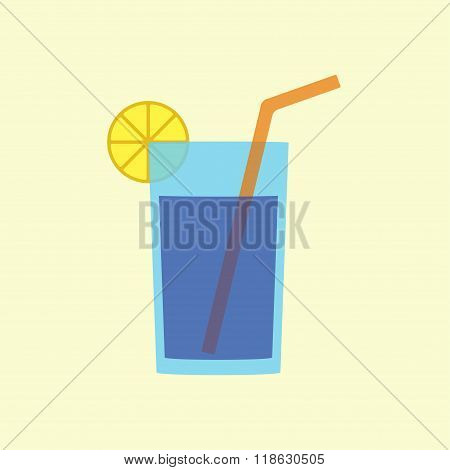 Glass of water or juice with lemon and straw. Flat icon or sign. Vector illustration.