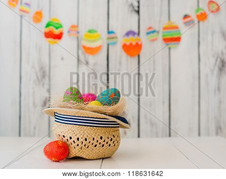 Easter eggs in a hat