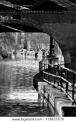 Canal Barge On Canal River- Regents Canal, London