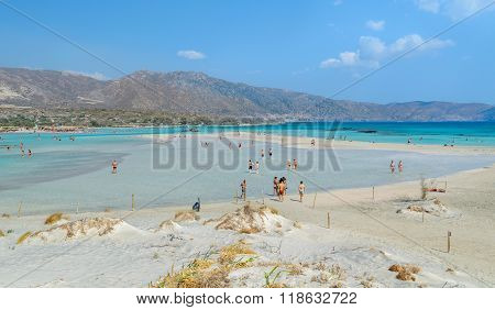 People have a joy at Elafonisi beach at Crete island, Greece