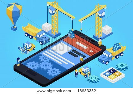 Mobile App Development, Experienced Team. Flat 3D Isometric