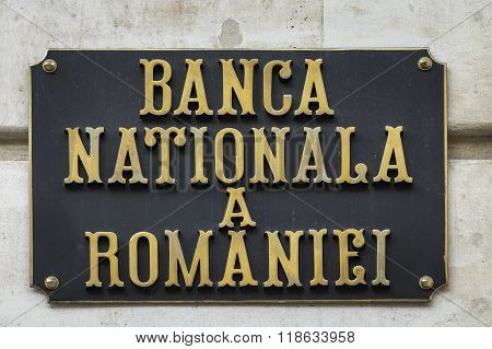 The National Bank Of Romania Sign