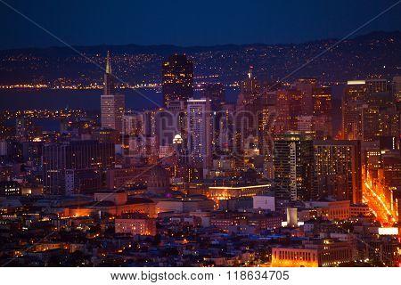 San Francisco downtown at night form hill