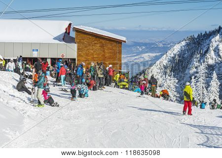 Group of tourists on ski