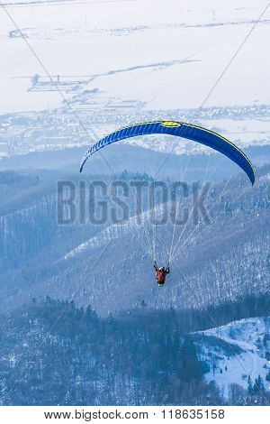 Paragliding Instructor Flying In Tandem